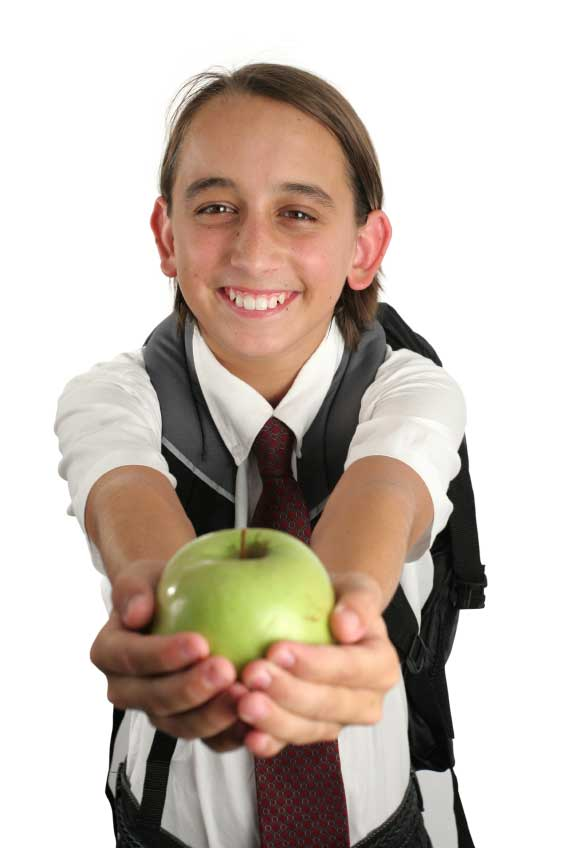 Happy Child with Apple for Teacher
